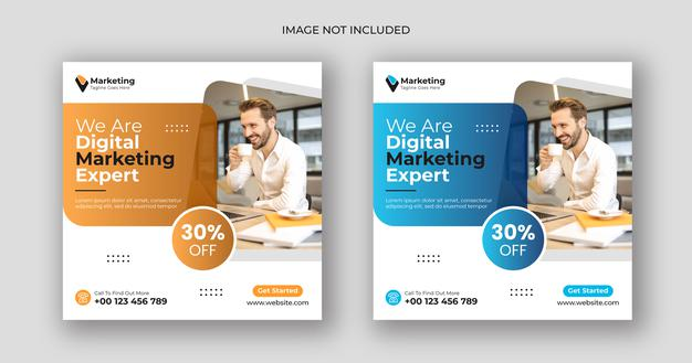 Digital marketing social media post square banner template Premium Vector