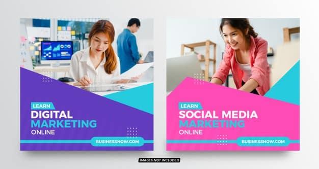 Digital marketing social media post templates Premium Vector
