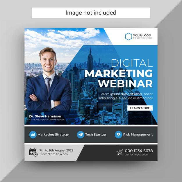 Digital marketing webinar social media post template,instagram post template Premium Vector