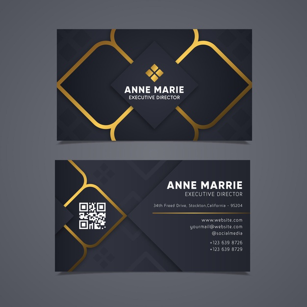 Elegant business card with golden lines Premium Vector