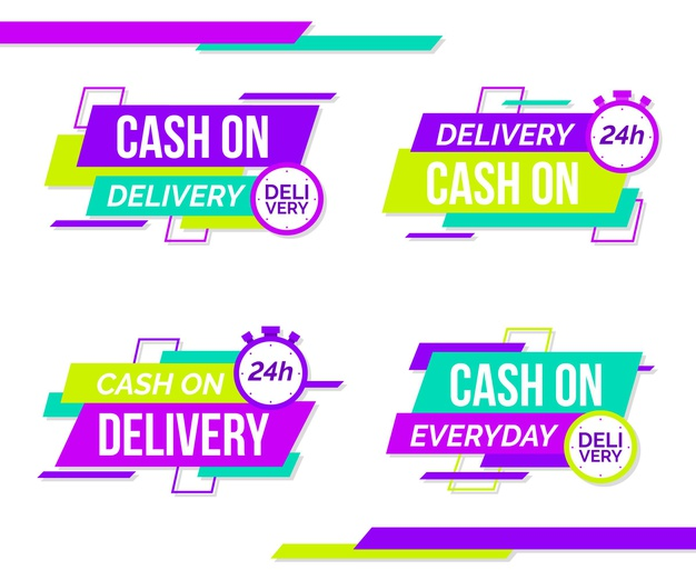 Flat cash on delivery badges set Free Vector