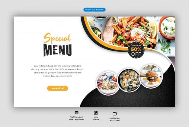 Food menu and restaurant web banner template Premium Psd