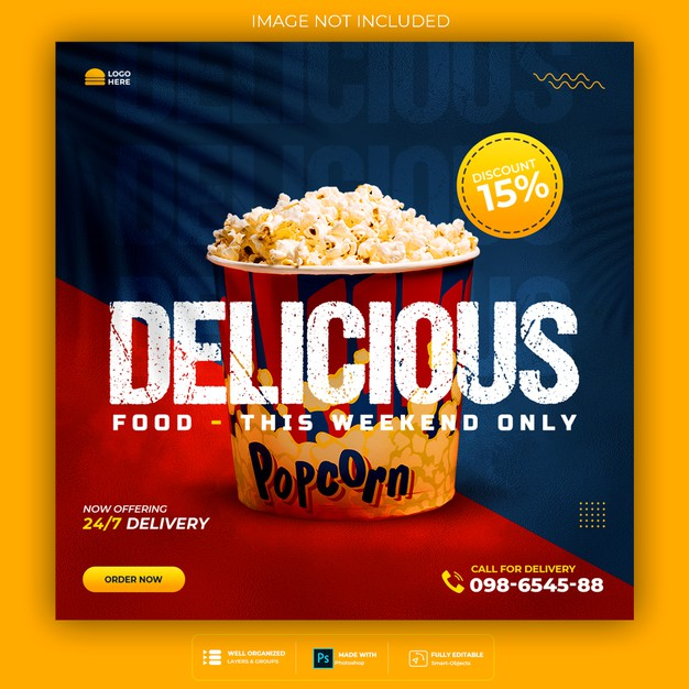 Food social media promotion and instagram banner post design template Premium Psd