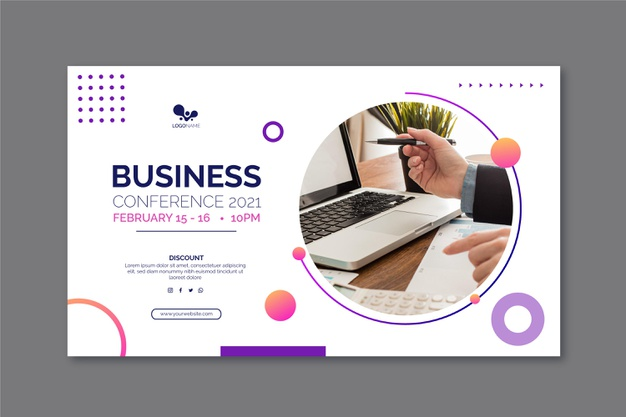 General business banner template with photo Free Vector