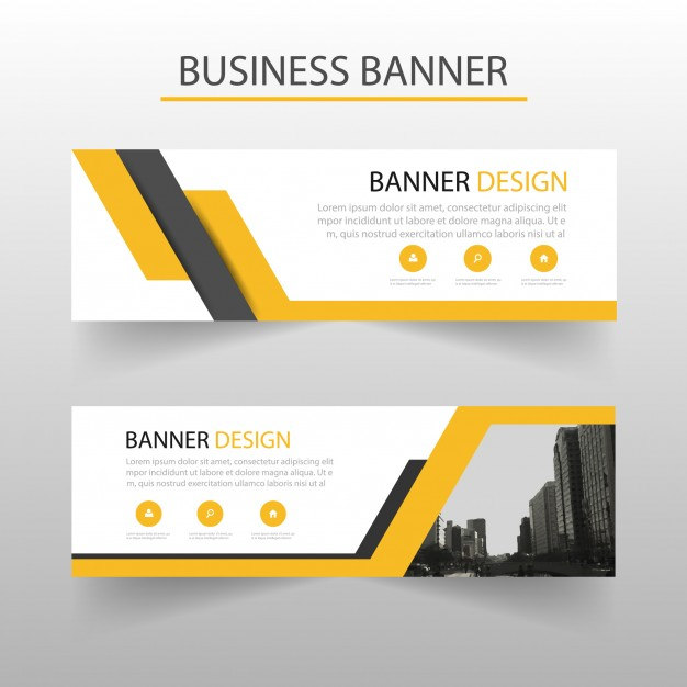 Geometric banners template with yellow shapes Free Vector
