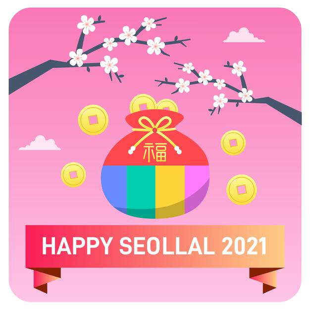 Happy seollal new year illustration background Premium Vector