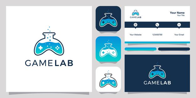 Joystick and lab abstract logo and business card design Premium Vector