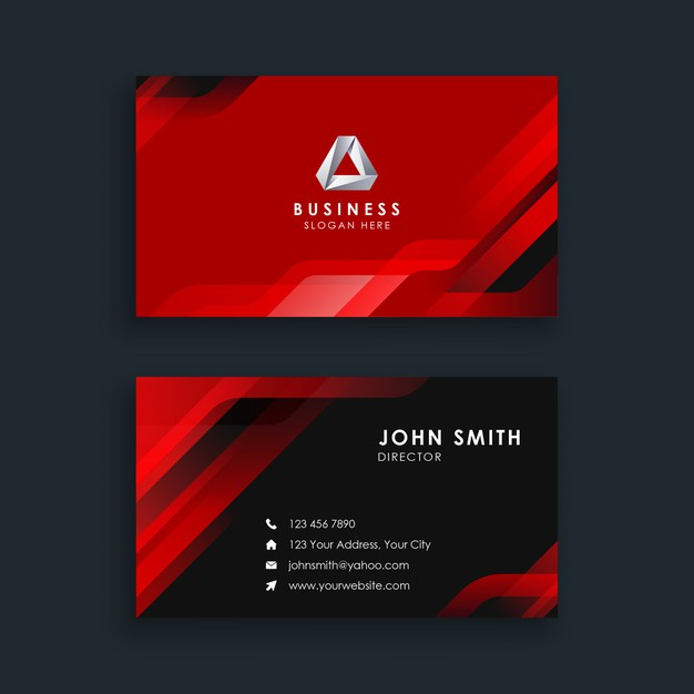 Modern abstract red business card template Premium Vector