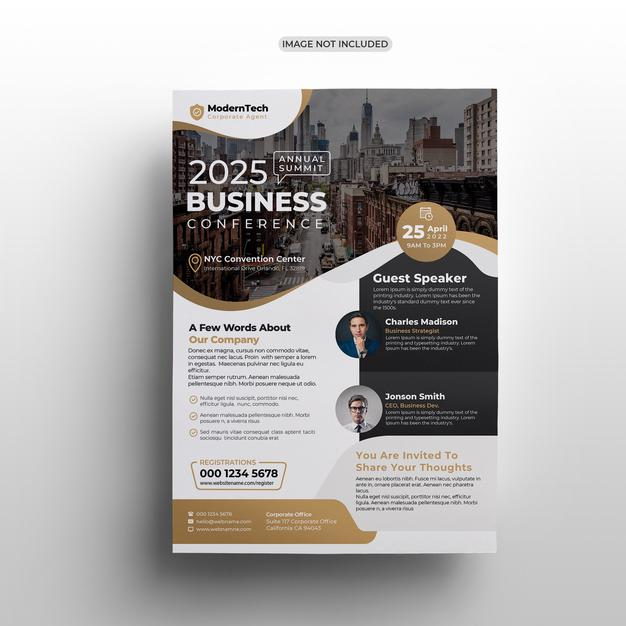Modern business conference flyer template design Premium Psd