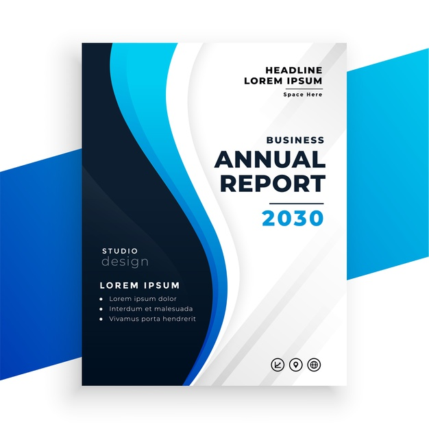 Nice wavy blue annual report business brochure design Free Vector