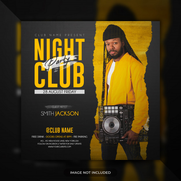 Night club party flyer template social media post banner or poster Premium Psd