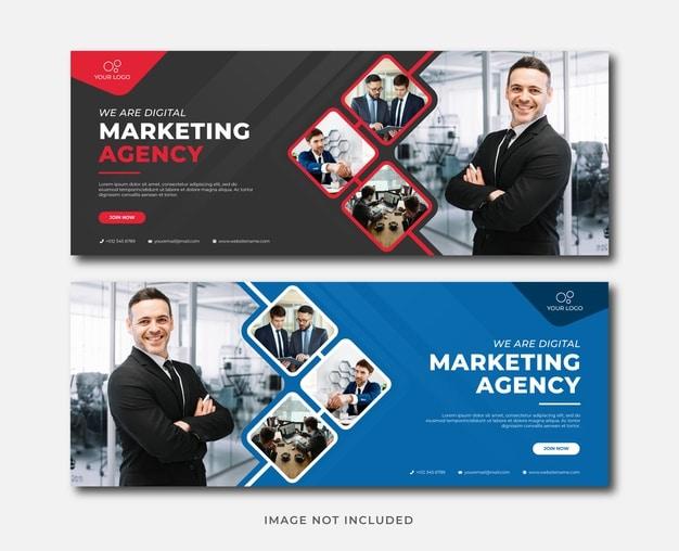Professional digital marketing agency banner template Premium Vector