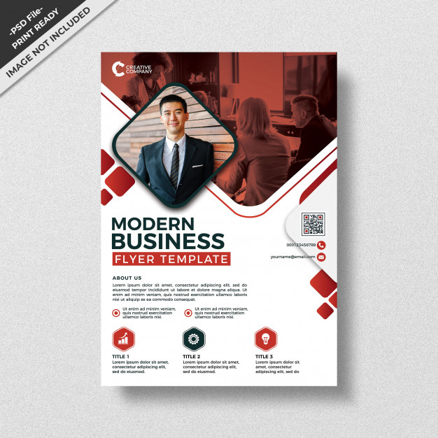 Red modern style design business flyer template Premium Psd
