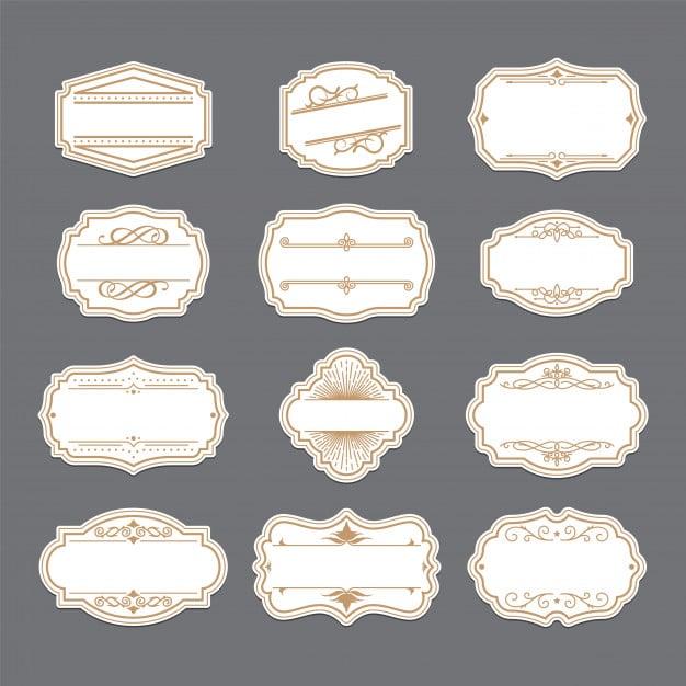 Vintage golden ornate labels set Free Vector
