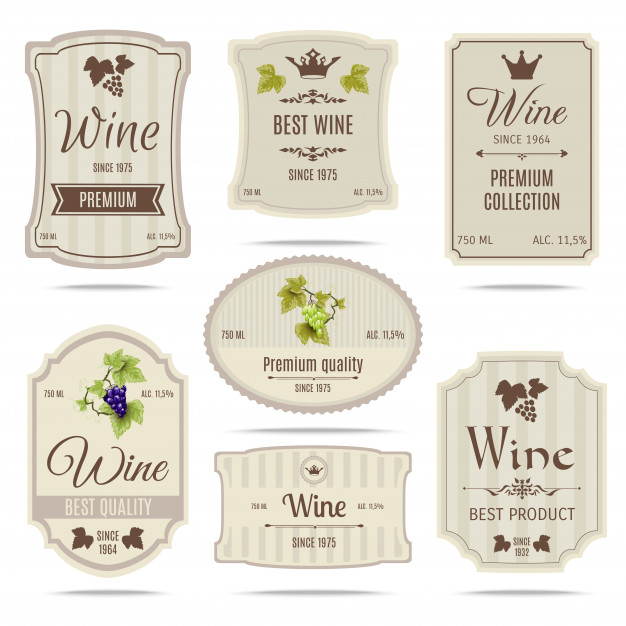 Wine labels set Free Vector