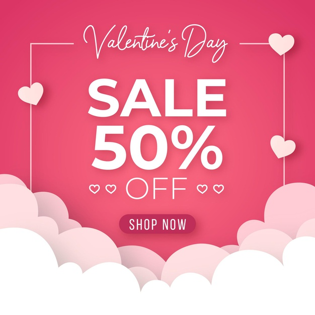 Flat design valentines day sale Vector