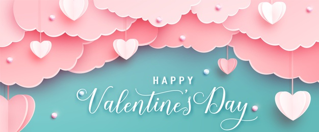 Happy valentines day greeting banner in papercut realistic style. paper hearts, clouds and pearls on string. calligraphy text Vector