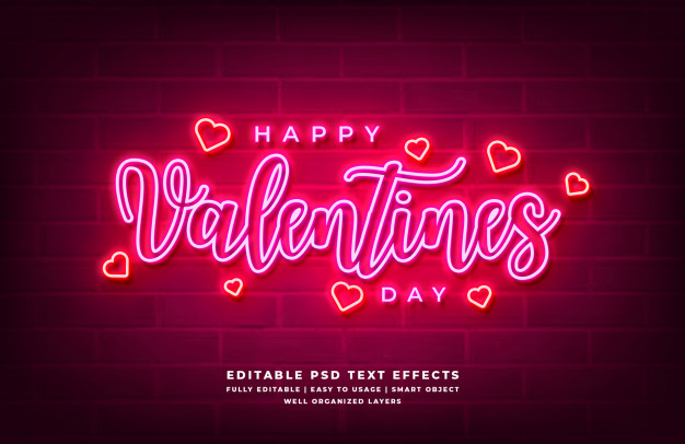 Happy valentines day neon light 3d text style effect Premium Psd