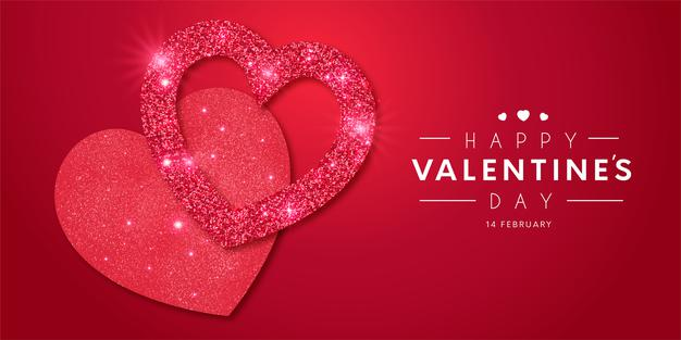 Lovely happy valentine's day frame with realistic hearts shiny template Free Vector