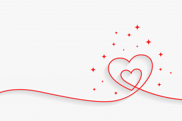 Minimal line heart background with text space Vector