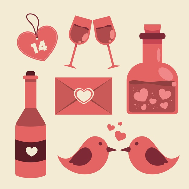 Valentine day element set Vector