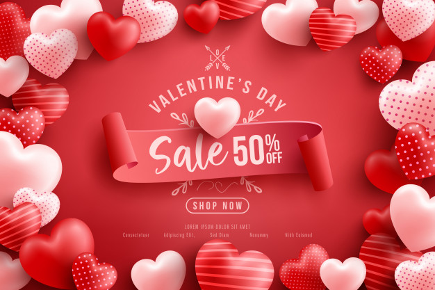 Valentine's day sale 50% off poster or banner with many sweet hearts and on red .promotion and shopping template or for love and valentine's day Premium Vector
