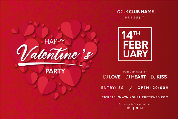 Valentine's party poster with hearts Free Vector