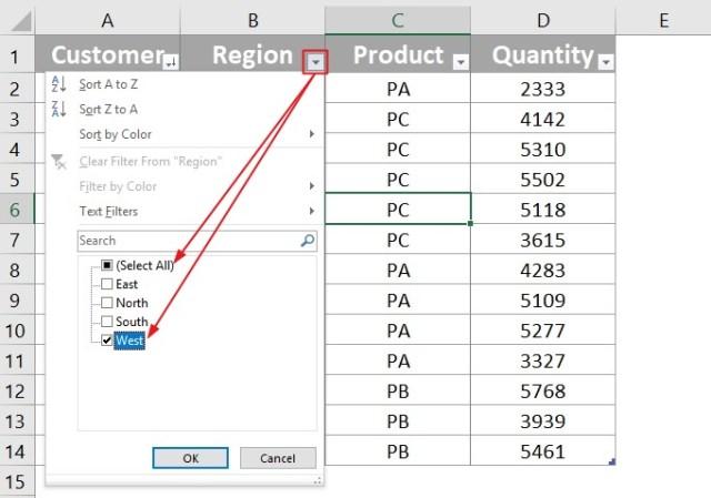 Excel Filter Data