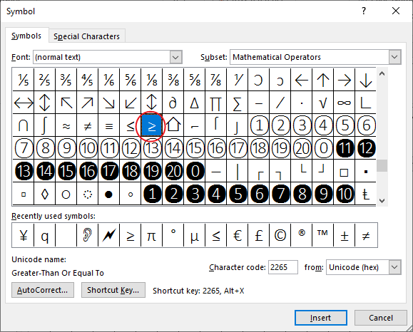 Select the greater than or equal to symbol and click Insert