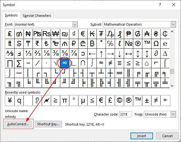 infinity symbol in word