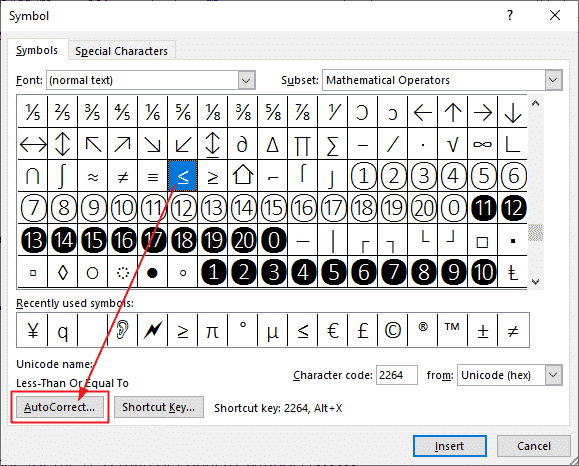Setting the Symbol's AutoCorrect