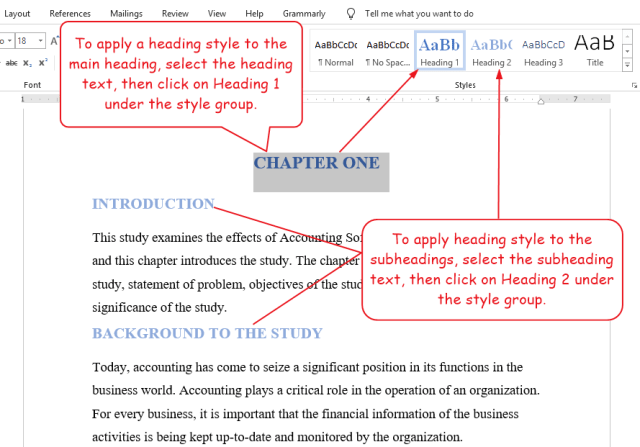 Apply Heading Styles to headings that will appear in the Table of Content