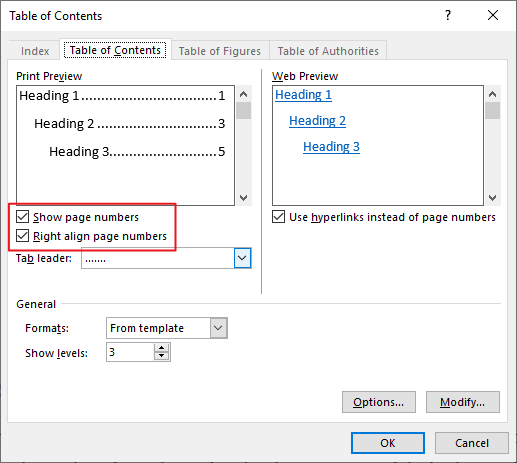 Seting page numbers and alignments