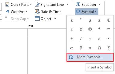 Go to Insert Tab>Symbols>Symbol>More Symbols