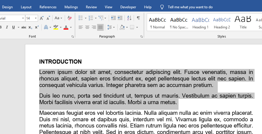 highlight the section you wish to double space in your Word document