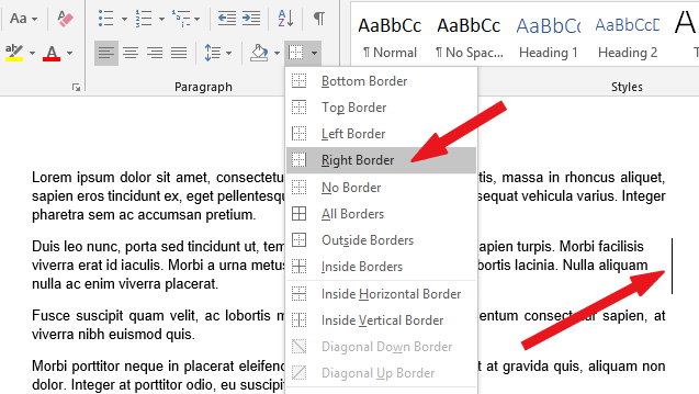 Click to select the right border option to insert a vertical line after the paragraph