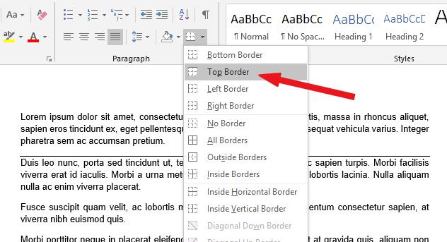 Select the top border option
