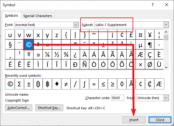 Insert copyright symbol in Word or Excel