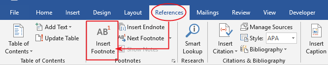 Go to Reference>Footnotes>Insert Footnote