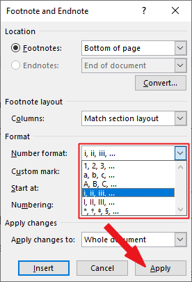 Select the numbering format of you choice and click on the Apply button