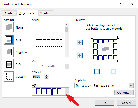 Use Art shapes for borders in Word