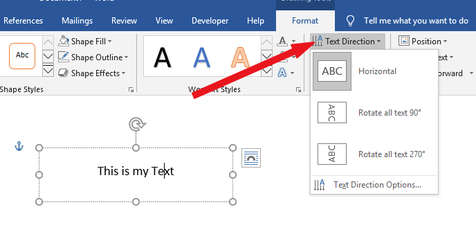 how to change text direction in Word