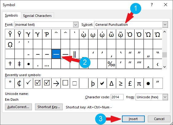 how to type em dash in word