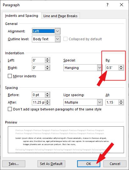 specify the indetatin length