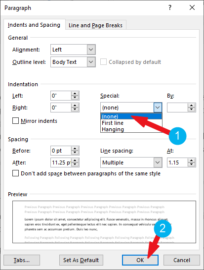 remove hanging indent