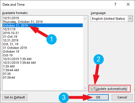Date and Time dialog