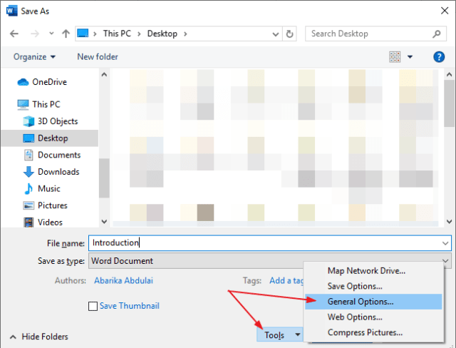 At the bottom of the Save as dialog, click tools>General Option