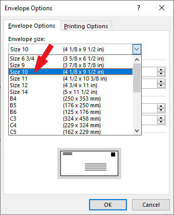 choose the size of the envelope you want to print
