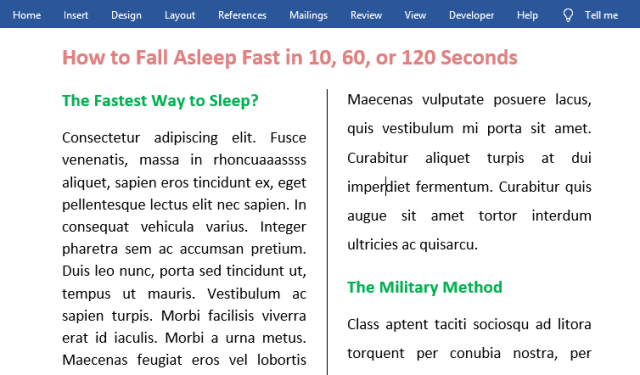 split page in Word - using two columns