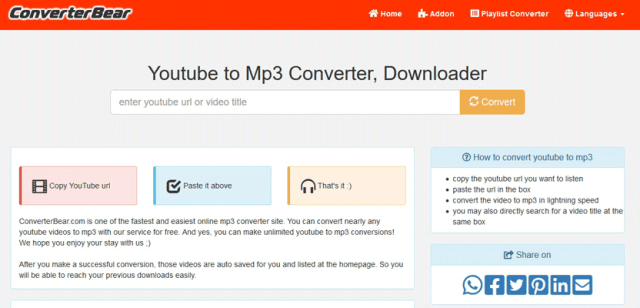 ConvertBear YouTube to MP3 Converter